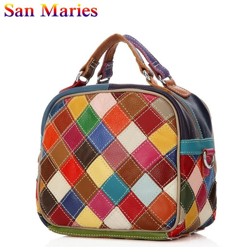 San Maries Genuine Leather Shoulder Bags Casual Women HandBags School Bags For Teenage Girls