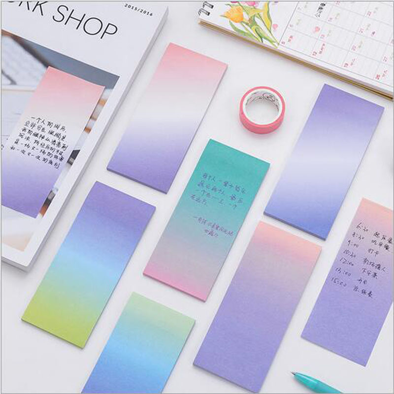 1 Pcs Cute Rainbow Gradient Color Memo Pads Decoration Stickers Self-Adhesive Stationery Sticky Notes N Times Stickers