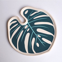 Large Monstera Storage Tray Paradise Tray Botanical Decorative Tray for Home Decoration Food Jewelry Wedding Gift