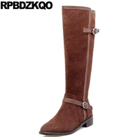 Metal Comfortable Genuine Leather Women British Long Shoes Suede Chunky Winter Side Zip Boots Flat Knee