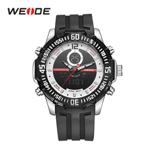 WEIDE Fashion Mens Sport Military Back Light Rubber Band Strap Analog Quartz LCD Dual Movement Alarm Day Date Wristwatch