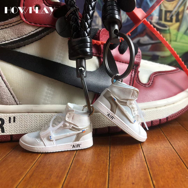 free shipping 845b1 7e805 Howplay AJ1 OW 3D keychains Off White Joint Collection mini Sneakers Model  Shoes Creative Gifts for