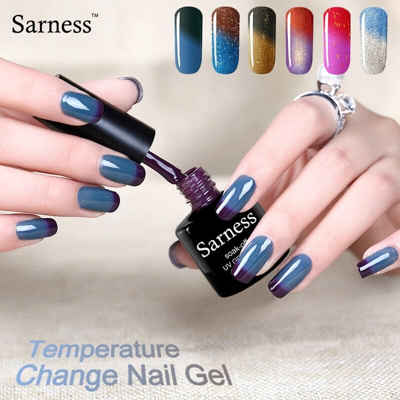 sarness 8ml Gel font b Nail b font Polish soak off Temperature Change Color UV font