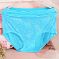 2Pcs/lot 2017 New Arrival Lace Flower Sexy Lingerie women underwears high waist plus size XXXL-6XL women's panties briefs