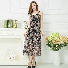 Women Plus Size Dress Summer Fashion Chiffon Print Dress Sexy Sleeveless Off The Shouder Wasit  Dresses 2XL