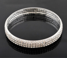 Design Bridal Full Crystal Bracelet Bangle 3 Row Rhinestone Exquisite Wedding wholesale 10pcs Jewelry Men Woman bracelets