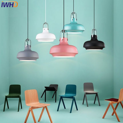 IWHD Luminum Hanglamp Led  Pendant Lights Home Lighting Fixtures Modern Color Hanging Lamp Dining Room kitchen Luminaire Lustre dining room led pendant lights suspendus lustre bar coffee modern led pendant indoor lighting for kitchen restaurants room lamp