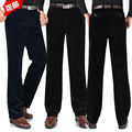 Бесплатная доставка мужская осень вельвет свободного покроя бизнес штаны-мужчин Большой размер широкий прямые брюки талии