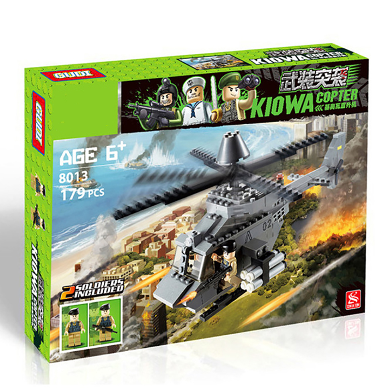 173pcs Military Series Fighting Helicopter Toy Bricks Children Building Blocks Toy DIY Gifts Kids Educational Toys K0237-8013 [small particles] buoubuou creative puzzle toy toy bricks 30 16219 new military military series