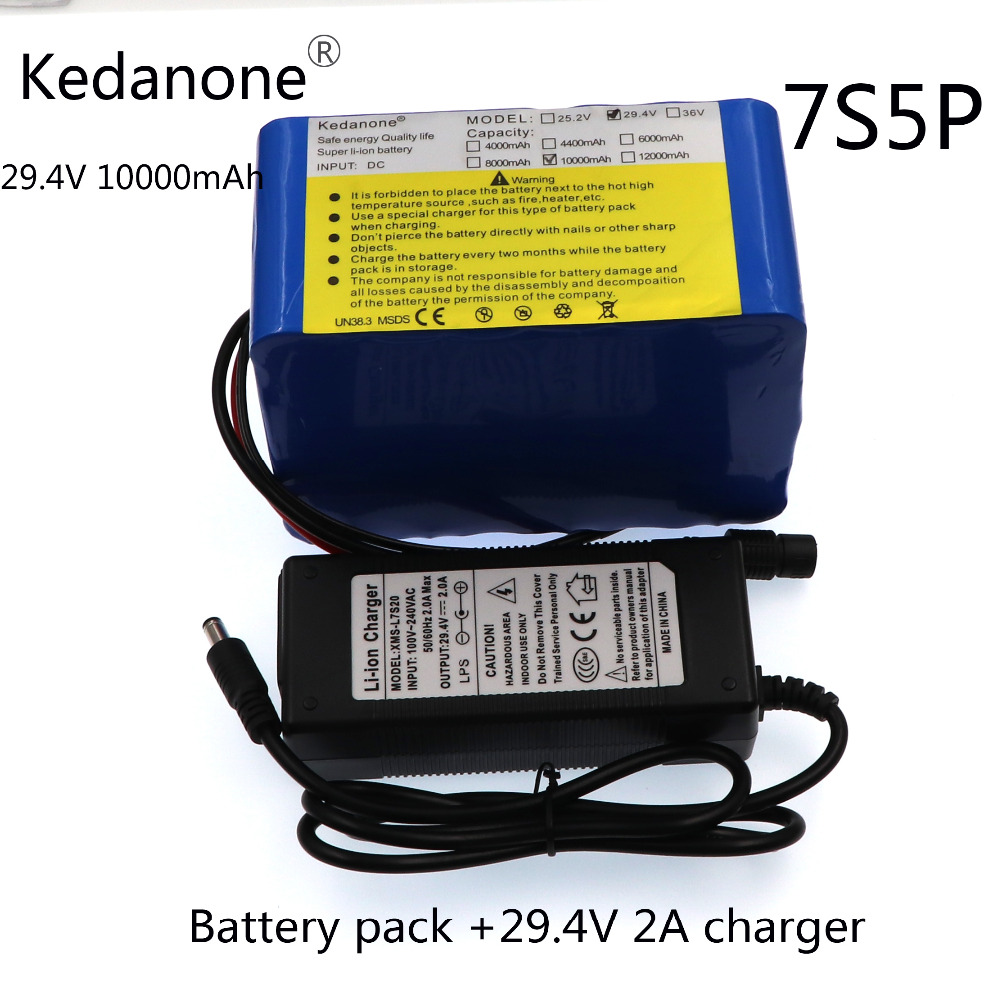 Kedanone 24v <font><b>10ah</b></font> 7S5P battery pack 15A BMS 250w <font><b>29.4V</b></font> 10000mAh battery pack for wheelchair motor electric power+2A charger image