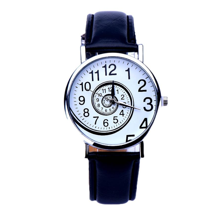 2018 Fashion Simple Watch Women Bracelet With Leather Clocks Quartz Elegant Classic Wristwatch Swirl Pattern Casual Watches  #D