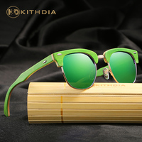 KITHDIA Green Frames Wood Sunglasses HD Polarized Mirror Lens Women Men Brand Design Half Frame Wooden Sunglasses with gift box