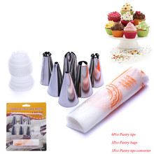 9Pcs/Set Cake Decorating tips set 3Pcs Icing Piping Cream Pastry Bag + 6 Stainless Steel Nozzles+ 1 Pastry Tips Converter