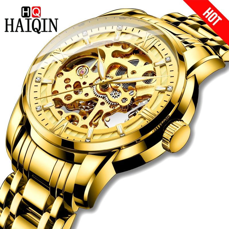 ใหม่ HAIQIN นาฬิกาผู้ชายหรูหราทองนาฬิกาของขวัญกันน้ำ Self   Winding นาฬิกาผู้ชายนาฬิกาข้อมือ mecanico de hombres-ใน นาฬิกาข้อมือกลไก จาก นาฬิกาข้อมือ บน AliExpress - 11.11_สิบเอ็ด สิบเอ็ดวันคนโสด 1
