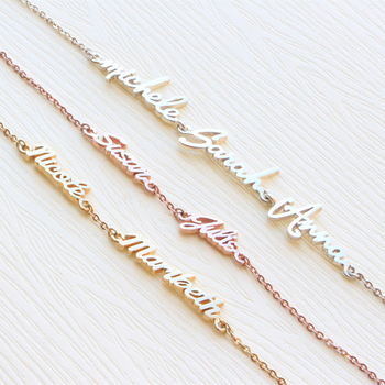 Personalisierte Drei Name Armband Femme Edelstahl Pulseras Nach Familie Mitglied Triple Name Bileklik Armbänder Für Mama Baby