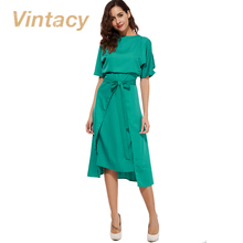Vintacy 2017 green women dress off shoulder belt casual loose summer dress spring hollow out pleated party women dresses