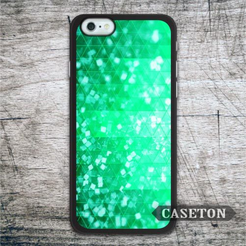 Green Glitter Geometric Case For iPhone 7 6 6s Plus 5 5s SE 5c and For iPod 5 High Quality Cover Free Shipping Gloally
