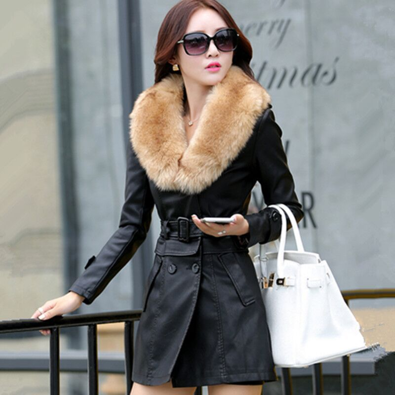 2019 Winter New Women Long   Leather   Jacket Coat Female Fashion Big Fur Collar Thick Plus Cotton Slim Plus Size M-5XL Windbreaker