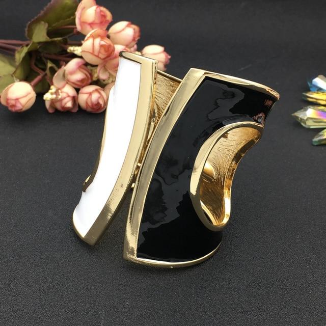 Black White glaze Punk Big Cuff Bracelets 3