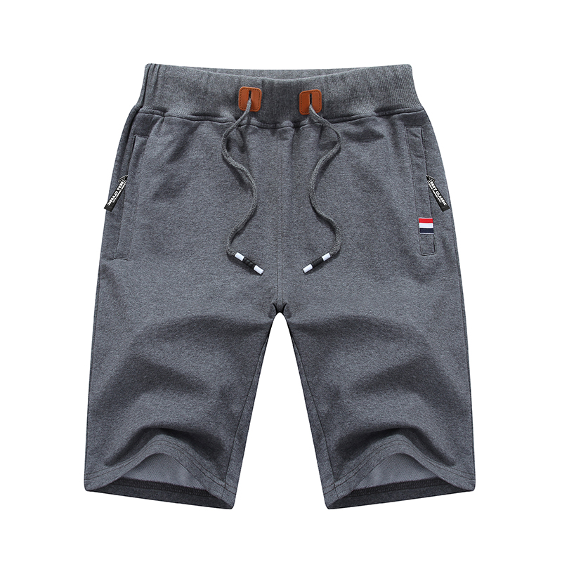 Men's New Fashion Casual Sports Zipper Pocket Five Point Pants With Rope Plain Color  Casual Shorts