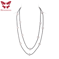 HENGSHENG DIY Handmade Pearl Necklace Top Quality Natural Freshwater Pearl With Pure Natural Cotton Line Necklaces