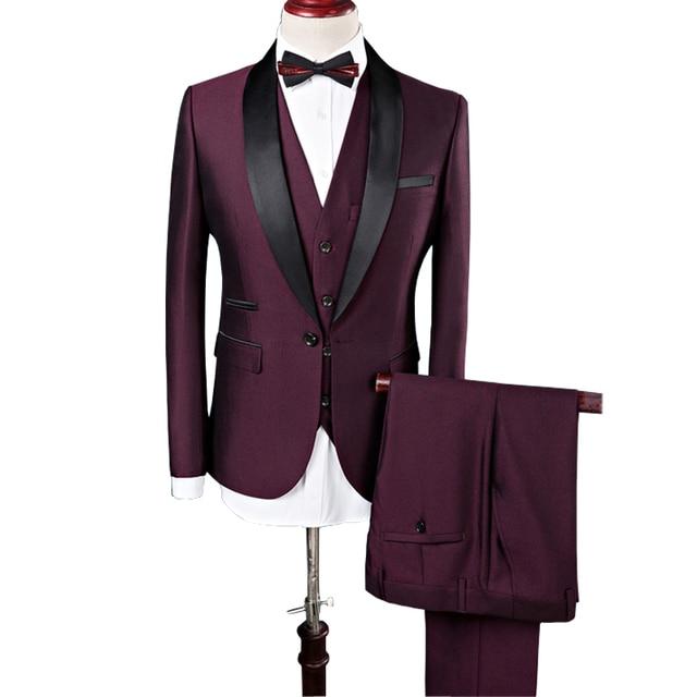 19c01c2314 2018 del nuevo diseñador para hombre trajes de boda del novio vino rojo  negocio traje Formal