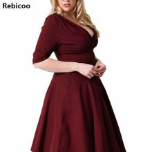 Dress women plus size Super elastic V-neck  summer half sleeve high waist dress casual black vestidos 3xl 4xl 5xl 6xl 7xl 8xl