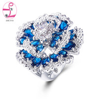 ZHE FAN Flower Cocktail Party Rings Blue Green Multi Pave AAA Cubic Zirconia Fashion Luxury Wedding Ring For Women Jewelry
