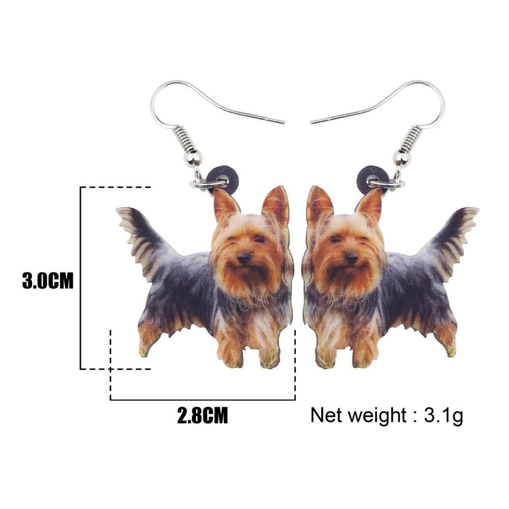 Bonsny Acrylic Cute Yorkshire Dog Earrings Big Long Drop Dangle Novelty Animal Pet Jewelry For Girls Women Ladies 2018 News
