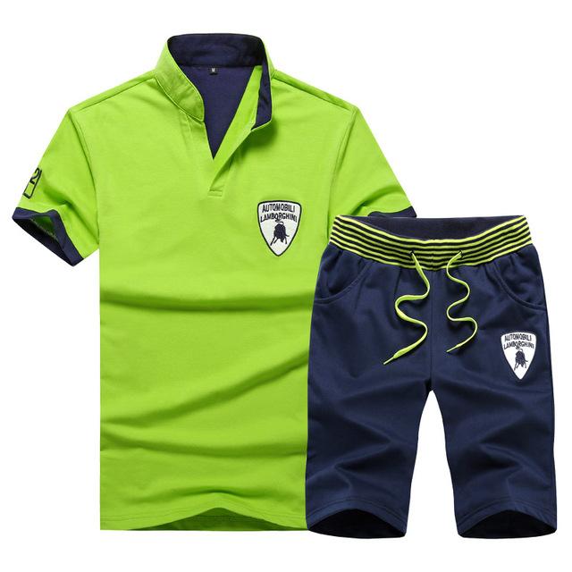 Men's Cotton Plus size Short Sleeve T-Shirt and Shorts Set