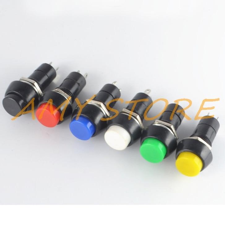 10pcs 2Pin Plastic 12mm Round Push Button PBS-11A Self Lock Latching PBS-11B Momentary Non-lock Switch 3A 150V