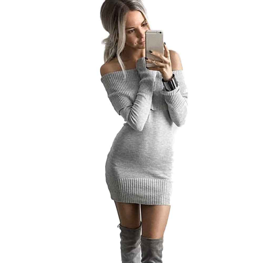 Vestidos Women Autumn Winter Off Shoulder Knitted Bodycon Dress Ladies Long Sleeve Sexy Mini Dress Sweater Dresses sweet off the shoulder long sleeve bodycon sweater dress for women
