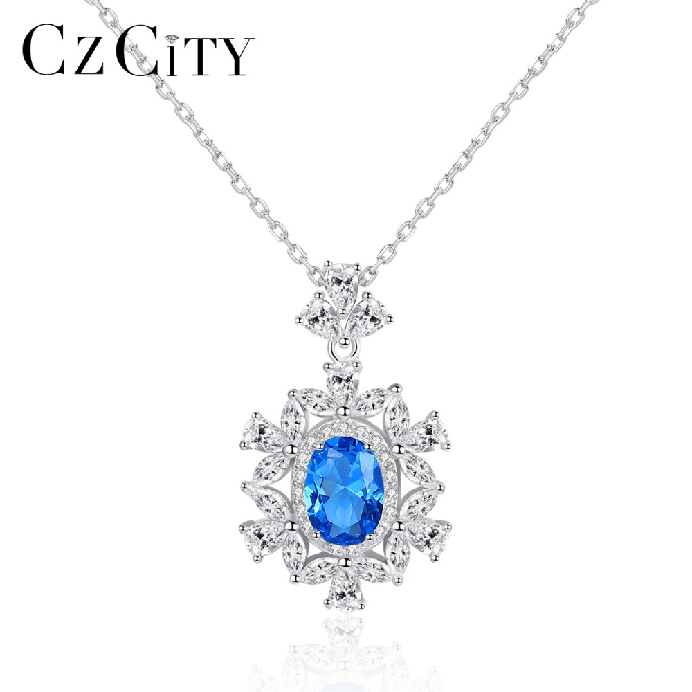 CZCITY Gorgeous Big Sapphire Flower Pendant Necklace for Women 925 Sterling Silver Charming Topaz Necklace Wedding Fine JewelryCZCITY Gorgeous Big Sapphire Flower Pendant Necklace for Women 925 Sterling Silver Charming Topaz Necklace Wedding Fine Jewelry