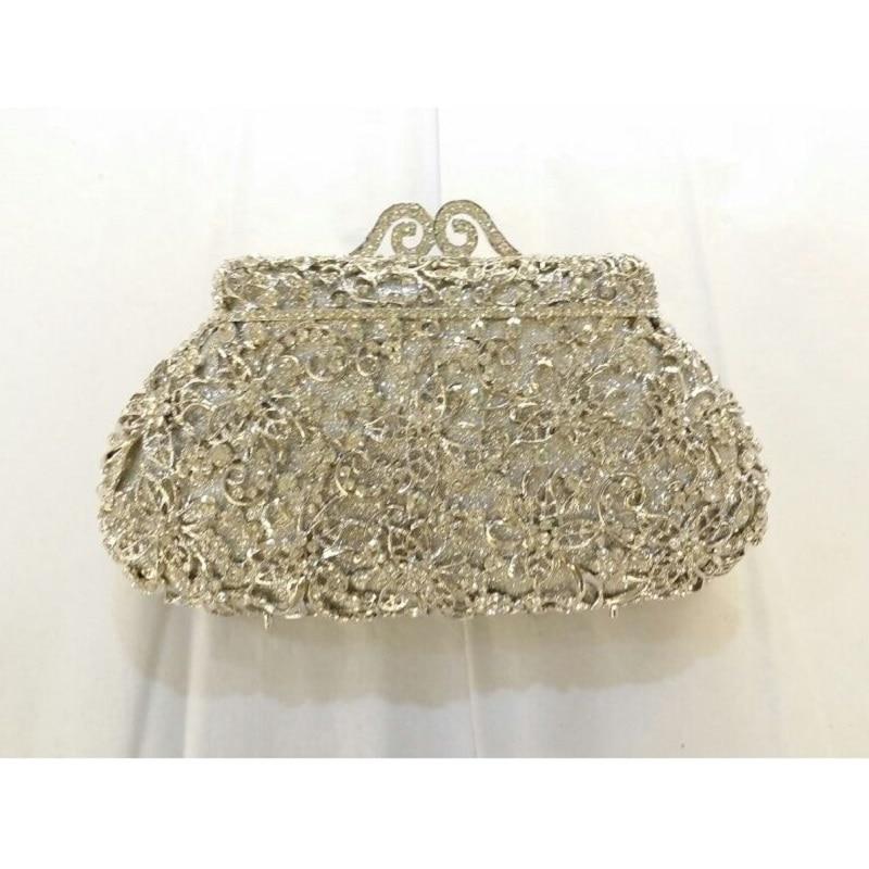 ФОТО 8328S silver Crystal Flower Floral Bridal Party hollow Metal Evening purse clutch bag handbag case bpx