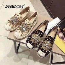 Купить с кэшбэком WELLWALK Crystal Crown Decoration Espadrilles Women Loafers Ladies Flat Shoes Women Moccasins Ladies Ballerinas Round Toe Shoes