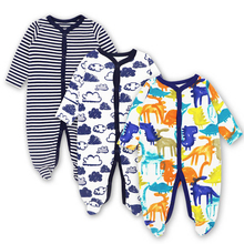 Купить с кэшбэком 3 PCS Mother Nest Brand Baby Romper Long Sleeves 100% Cotton Baby Pajamas Cartoon Printed Newborn Baby Girls Boys Clothes