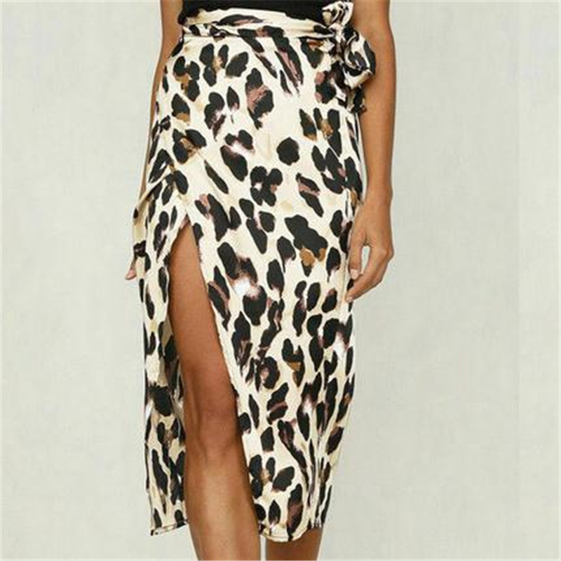 Womens Chiffon Skirt Pleated Long Leopard Printed Skirts Elastic Leopard Print Skirt Evening Party High Waist Casual Skirts