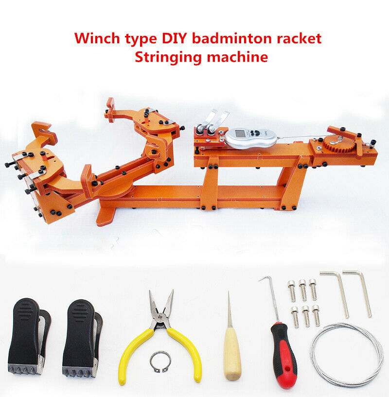 Racquet Stringing Machine Kits For Badminton Racket Mesh Clamp Hex Wrench Pointed Nose Pliers Cone Wooden Handle Hook Scissors