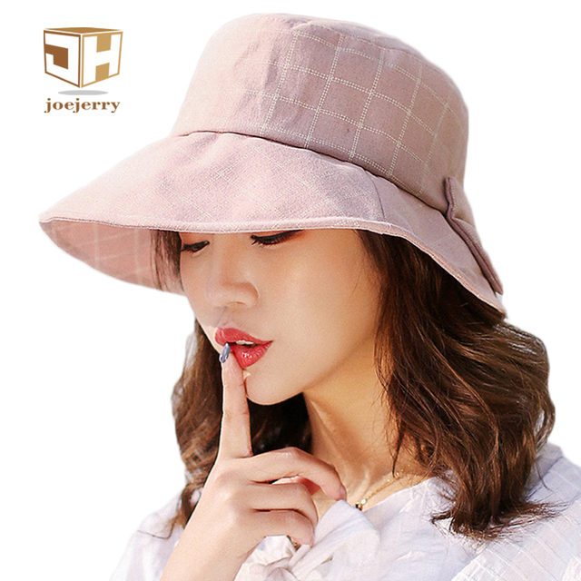 da98a1074fe joejerry Plaid Bucket Hat Elegant Cloth Sun Hat Women Summer Hats Sun  Protection Base Cap 2018