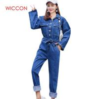 New Streetwear Style Denim Overalls Women 2019 Spring Long Sleeve Bodysuit High Waist Jeans Bodycon Romper Wide Leg Jumpsuit