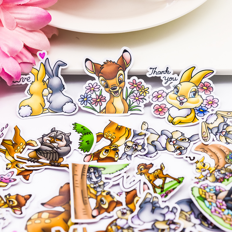 40pcs Creative  Self-made Cute Deer Bambi Stickers For Phone Car Case Waterproof Laptop Album Diary Backpack Kids Toy Stickers