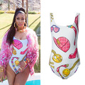 2015 Beyonce Nicki Minaj Acessórios Toalha-Print One-Piece swimwear Beachwear Sentimento Me Traje