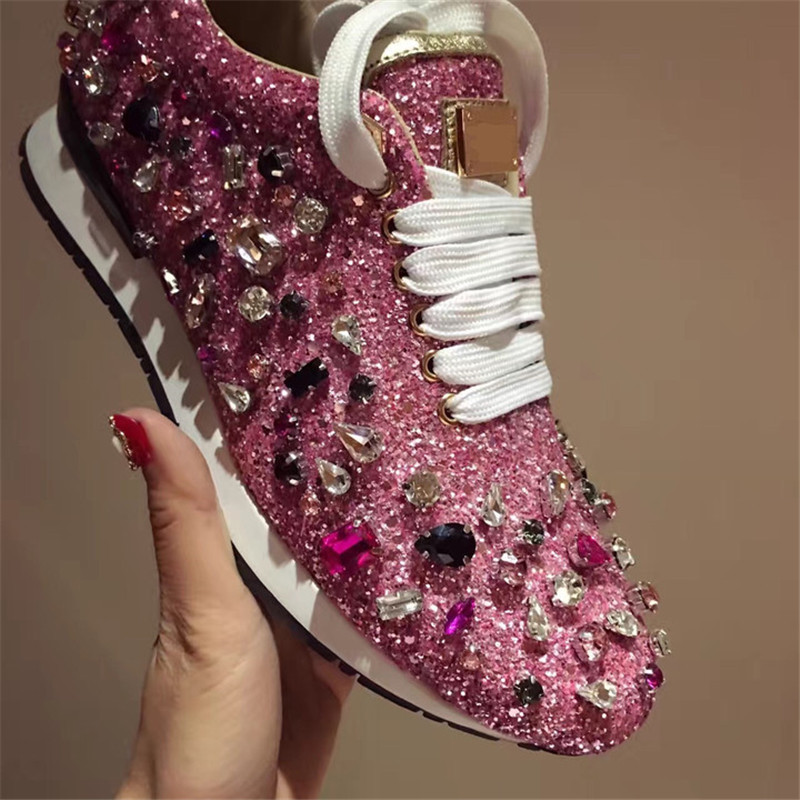 Prova Perfetto strass baskets femmes chaussures lacets Paillette sort couleur chaussures plates cuir casual chaussures zapatillas mujer - 4