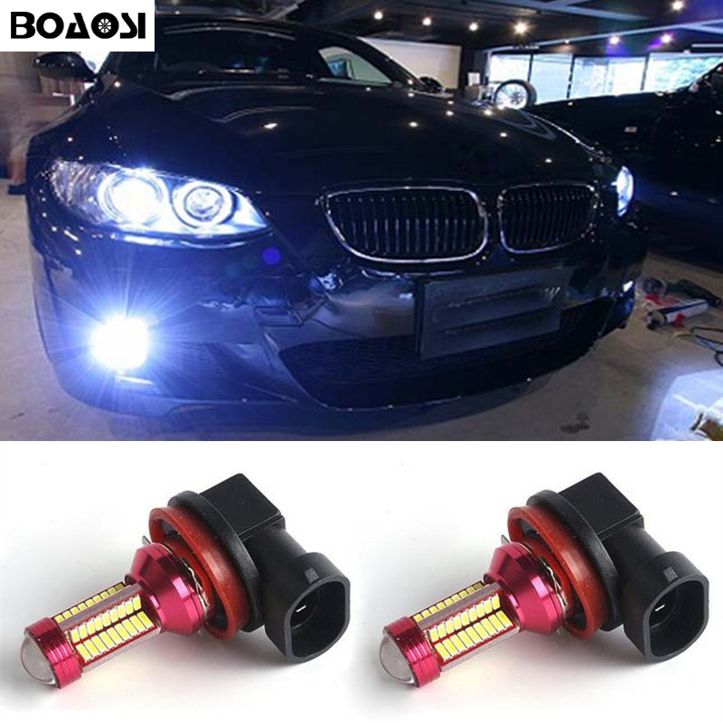 BOAOSI 2x 9006/HB4 LED canbus Bulbs Reflector Mirror Design For Fog Lights For BMW E63 E64 E46 330ci Car Styling boaosi 2x h11 led canbus 5630 33 smd bulbs reflector mirror design for fog lights for honda civic fit accord crider crv