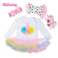 Цветок с длинными рукавами Vestidos Infantil Платье для маленьких девочек с оборками комбинезон с пачкой + гетры + повязка на голову + Обувь милые Оде...