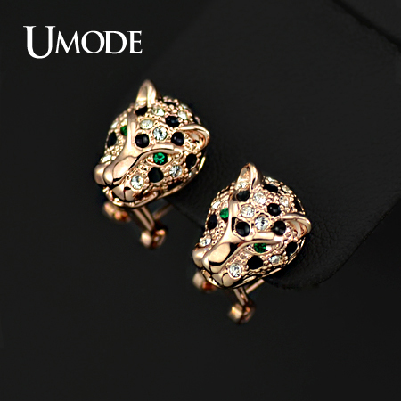 UMODE Rose Gold Color Fancy Designer Green Crystal Eyes Leopard