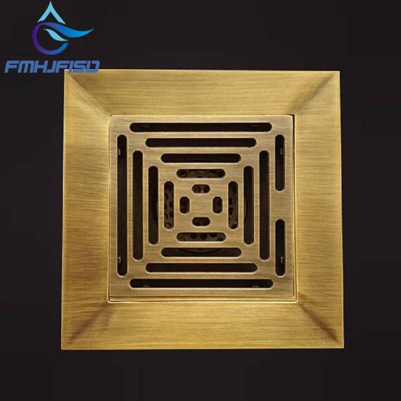 цена на 14cm Antique Brass Floor Drain Strainer 5.5 inch Square Deodorant Drain Shower Bathroom Balcony Floor Drains