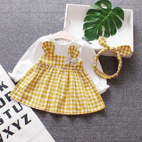 Spring Baby girls clothes overalls dress Headband for newborn babies 1st birthday baby dresses girls long sleeve clothing dress Multan