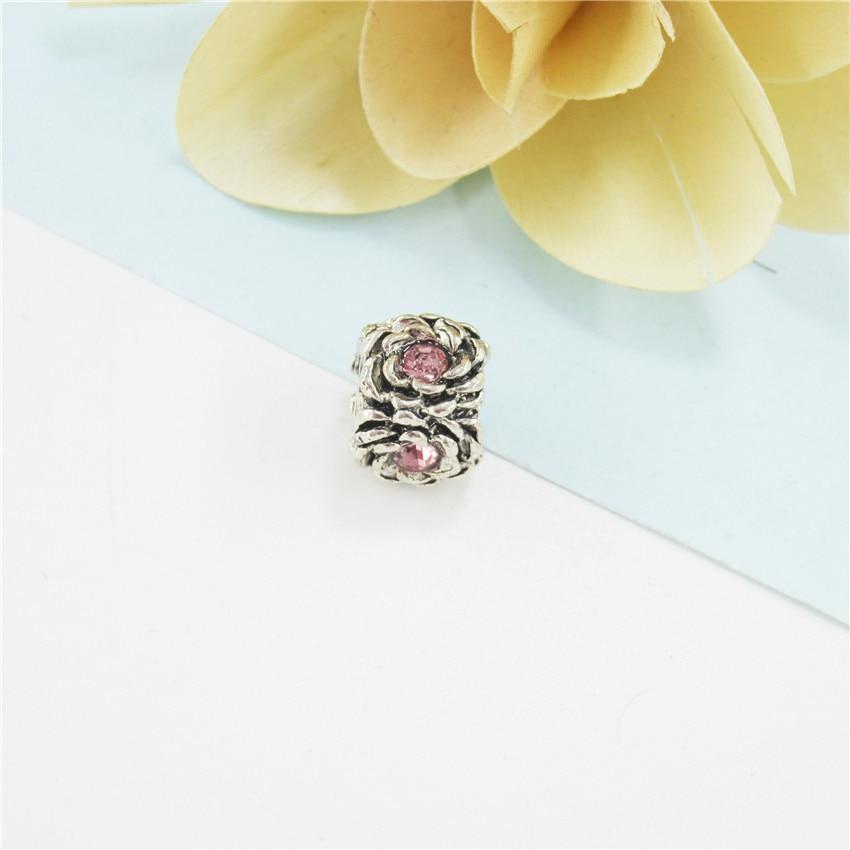 Bracelet accessoires roses perles DIY fleurs incrustés de cristal argent trous PDLL2