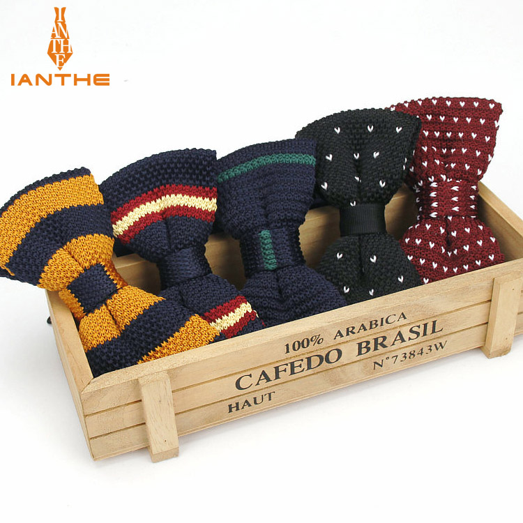 New Style Men Women Knit Bowtie Adjustable Butterfly Double Deck Neckwear Bowties Designer Knitting Wedding Knitted Bow Tie
